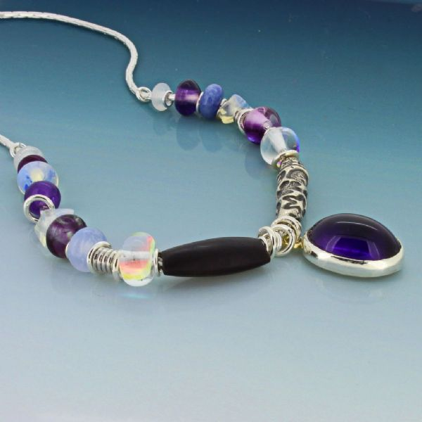 Amethyst necklace rock crystal & wooden bead on a silver chain